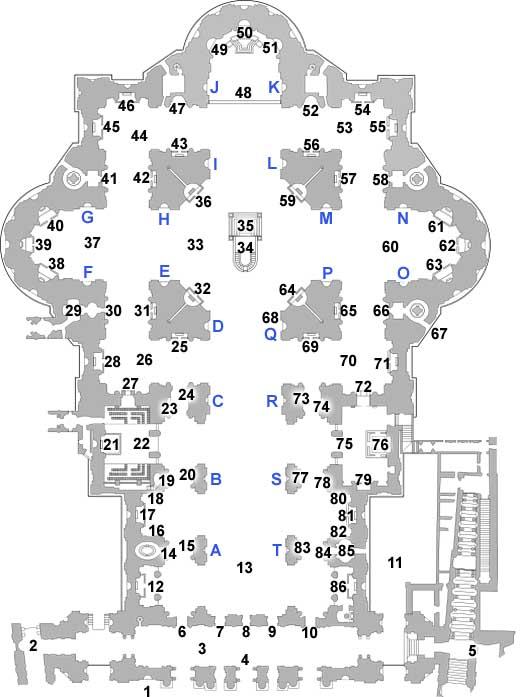 План Собора Святого Петра с указанием расположения памятников - фото