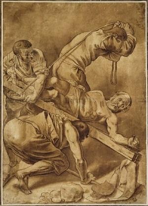Распятие Святого Петра (Копия рисунка Геррита ван Хонтхорста 1616 года) - изображение