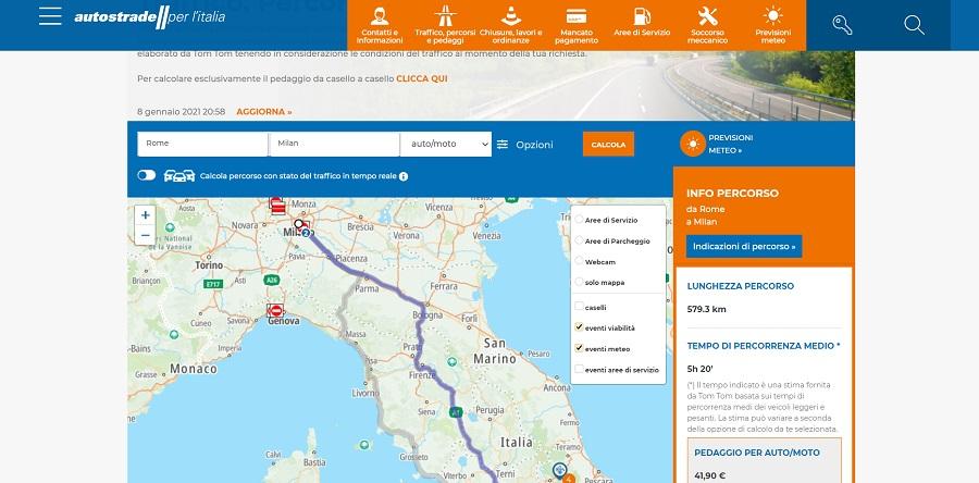 Скриншот итальянского сайта по расчету стоимости проезда по платным дорогам - фото