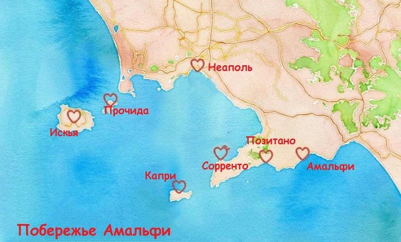 Карта популярных мест побережья Амальфи
