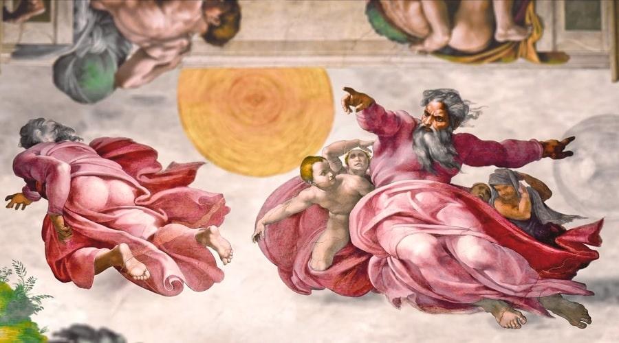 бог в окружении ангелов (Изображение из Сикстинской капеллы) - фото