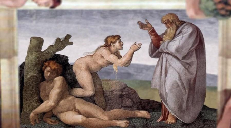 Ева выходит из ребра Адама (Микеланджело) - фото