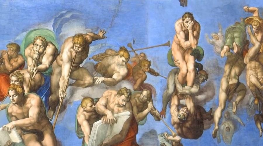 Изображение в Сикстинской капелле на котором Микеланджело нарисовал страшный суд - фото