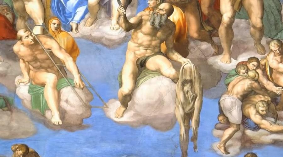Изображение в Сикстинской капелле на котором Микеланджело изобразил сам себя, в виде снятой кожи - фото