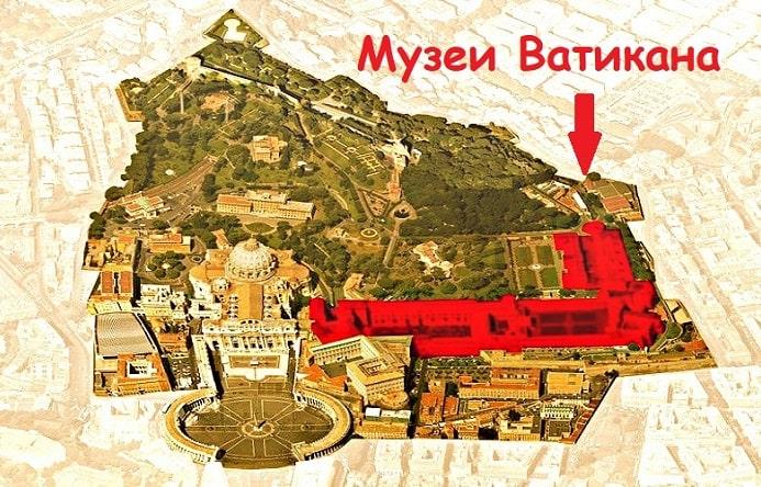 Музеи Ватикана на карте (аэрофотосъёмка) - фото