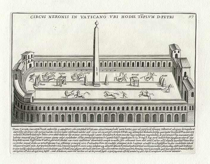 Изображение старинного рисунка нарисованного Пьетро Санти Бартоли, в 1699 году на котором изображён Цирк Нерона